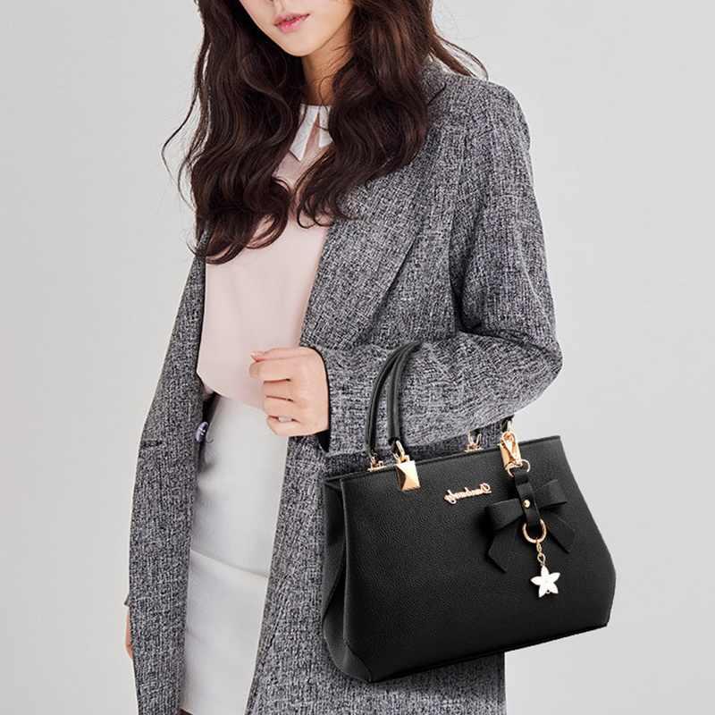 Jodimitty bolsa feminina vintage alça superior bolsa casual bowknot estrela pingente tote mensageiro ombro bolsa de couro 2020 novo