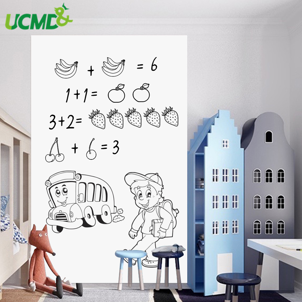 Self adhesive Eraseable Whiteboard Sticker Painting Writing Teaching White Board Removable Wall Decal sticker For Kids Baby Room|Whiteboard| |  - title=