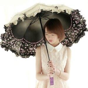 Sun Lace Umbrella Rain Women Sunscreen Korean Three Folding Umbrella UV Clear Princess Windproof Decoration Ombrello Gift SY259