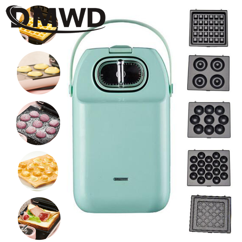 Multifunctional Electric Waffle Maker Donut Cake Machine Sandwich Iron Toaster Panini Egg Omelette Steak Grill Changeable Plates