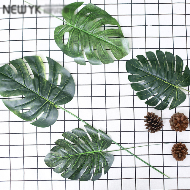 One Piece monstera artificial plants plastic tropical palm tree leaves home garden decoration accessories Photography Decorative 6