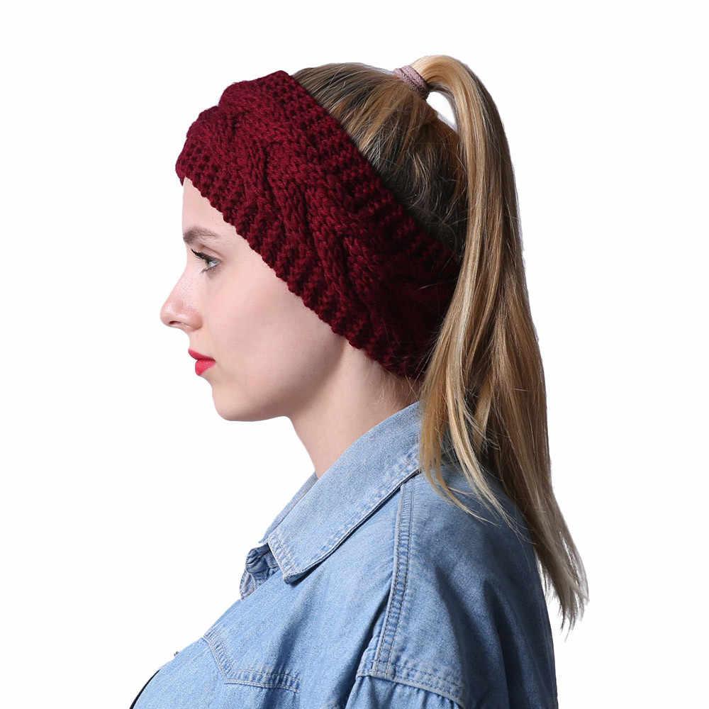 النساء الشعر الكرة الحياكة عقال مطاطا اليدوية التعادل تصميم HairBand فتاة الشتاء الأذن أدفأ مطاطا رباط شعر اكسسوارات واسعة