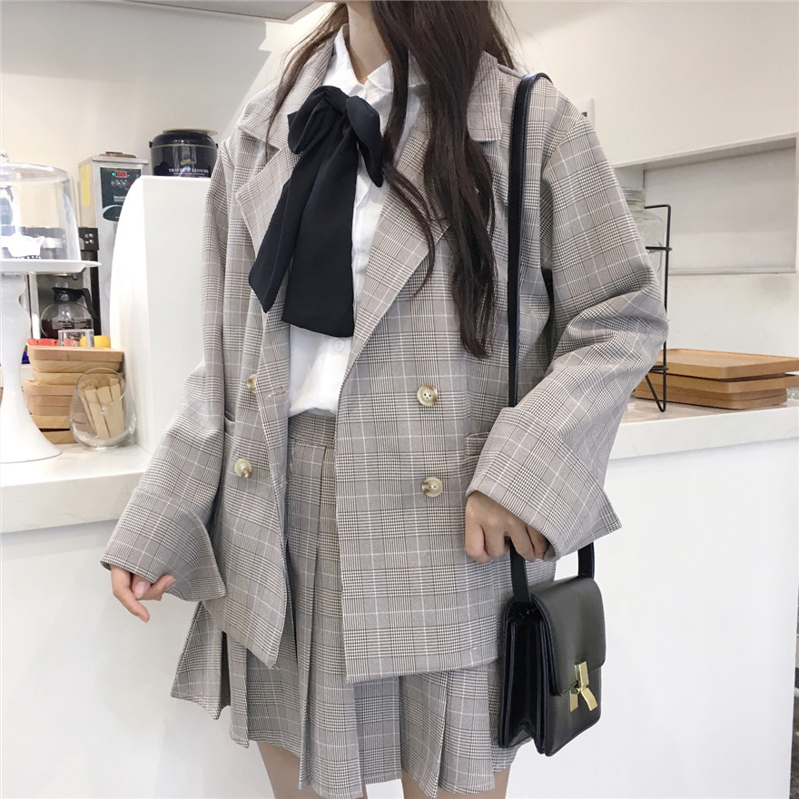 MUMUZI Preppy Style Plaid Suit Blazers And Pleated Skirt Two-piece Set College Style Outfits Coats And Skirt Set Mori Girl