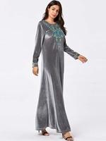 New Holiday Black Dubai Abaya Muslim Hijab Women Dress Vestidos For Dubai Girls 9130 Arab Big Women's Embroidery Big Long Skirt