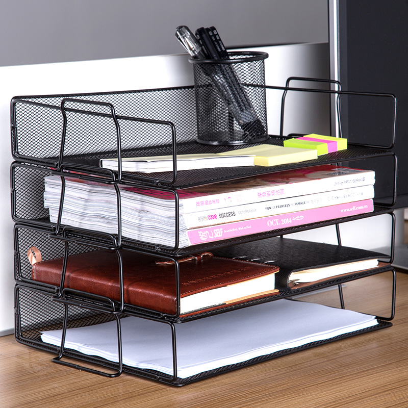 Metal Mesh Storage Rack Stackable Desktop Letter Sorting Iron Multilayer Storage Tray Rack Multifunctional Home Office Supplies Home Office Storage     - title=