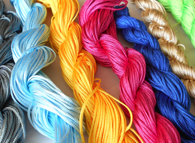 Hot Sale 10 Color Nylon Cord Thread Chinese Knot Macrame Rattail 1mm*22M For DIY Bracelet Braided