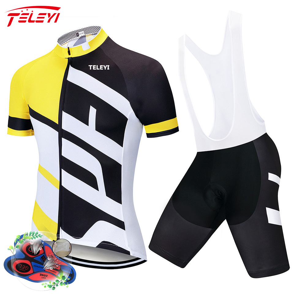 teleyi 2019 Polyester Pro Cycling Jersey Set Pro Mountain Bicycle Clothes Anti-sweat Racing Sportswear 2019 For Men