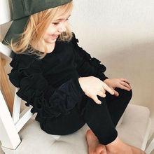 Baby Ruffles Decor Sweatshirt + Pants Solid Long Sleeve