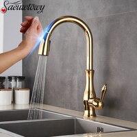 Schwarz Sensor Küche Wasserhahn Empfindliche Touch Küche Wasserhahn Zwei Modi Wasser Outlet Deck Installation Heißer und Kalter Mischer Kran