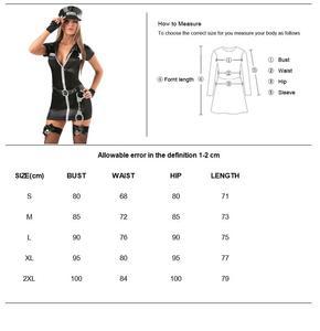 Image 3 - セクシーな女性警官役員女性警官衣装黒ジッパーサテン警察女性のセクシーなコスプレ衣装