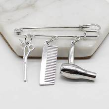 цена на Creative Personality Hair Stylist Fashion Jewelry Hairdressing Scissors Comb Pendant Washing and Cutting Brooch