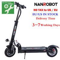 NANROBOT D5 + 2000W 52V 26AH Adulto Scooter Elétrico 10 ''Dobrável Leve 40 40 MPH Velocidade Máxima miles Range 2 Roda kick