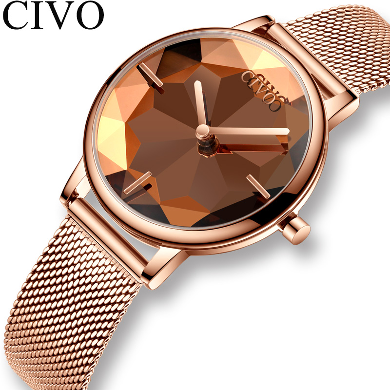CIVO New Creative Watches Women Luxury Waterproof Rosegold Quartz Ladies Watches Mesh Band Wristwatches Girl Reloj Mujer 8109C