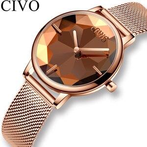 Image 1 - Civo Nieuwe Creatieve Horloges Vrouwen Luxe Waterdichte Rosegoud Quartz Dames Horloges Mesh Band Horloges Meisje Reloj Mujer 8109C