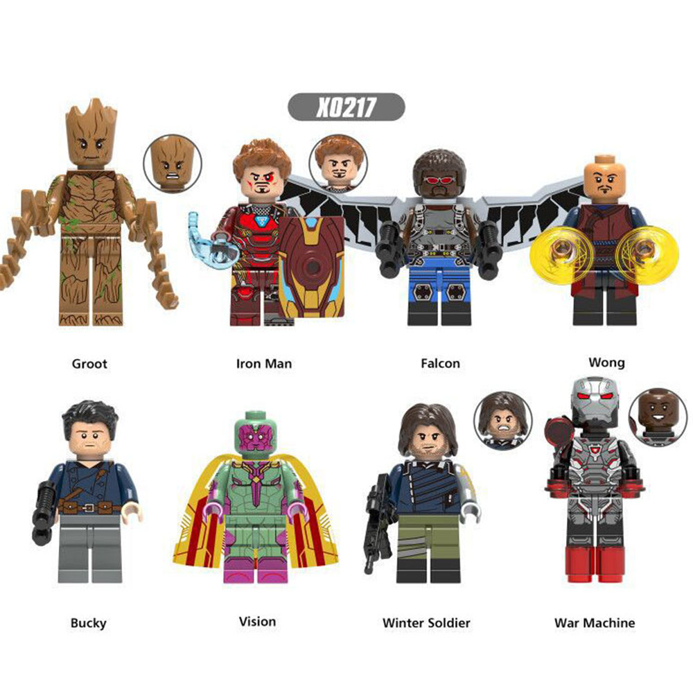 Marvel Superhero Avengers 8 Pieces / Set Lepins Deadpool Spider-Man Iron ManBatman Children's Building Block Toy Gift Decoration