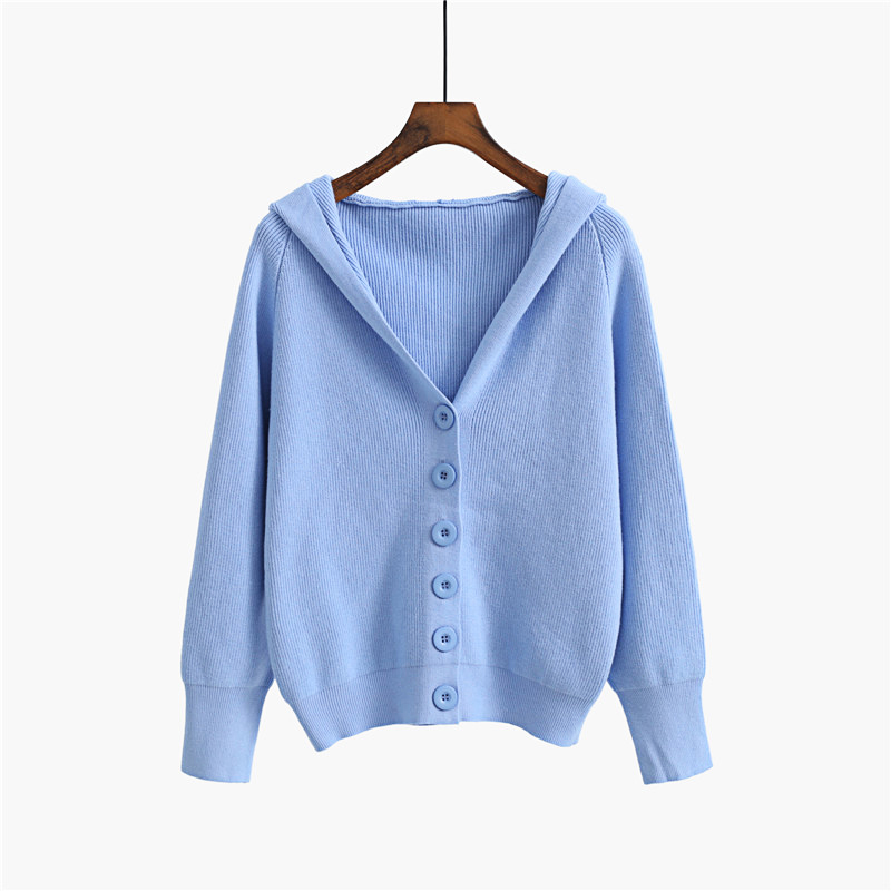 GIGOGOU Hooded Women Cardigan Sweater 2020 Short Preppy Style Campus Student Cardigans Knitted Soft Female Jumpers Top Outfits 10