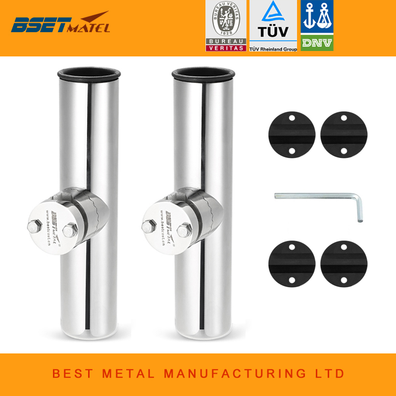 "2Pcs 316 Stainless Steel Fishing Rod Holder Clamp-on 1/"" to 1-1//4/'/' Rail Mount"