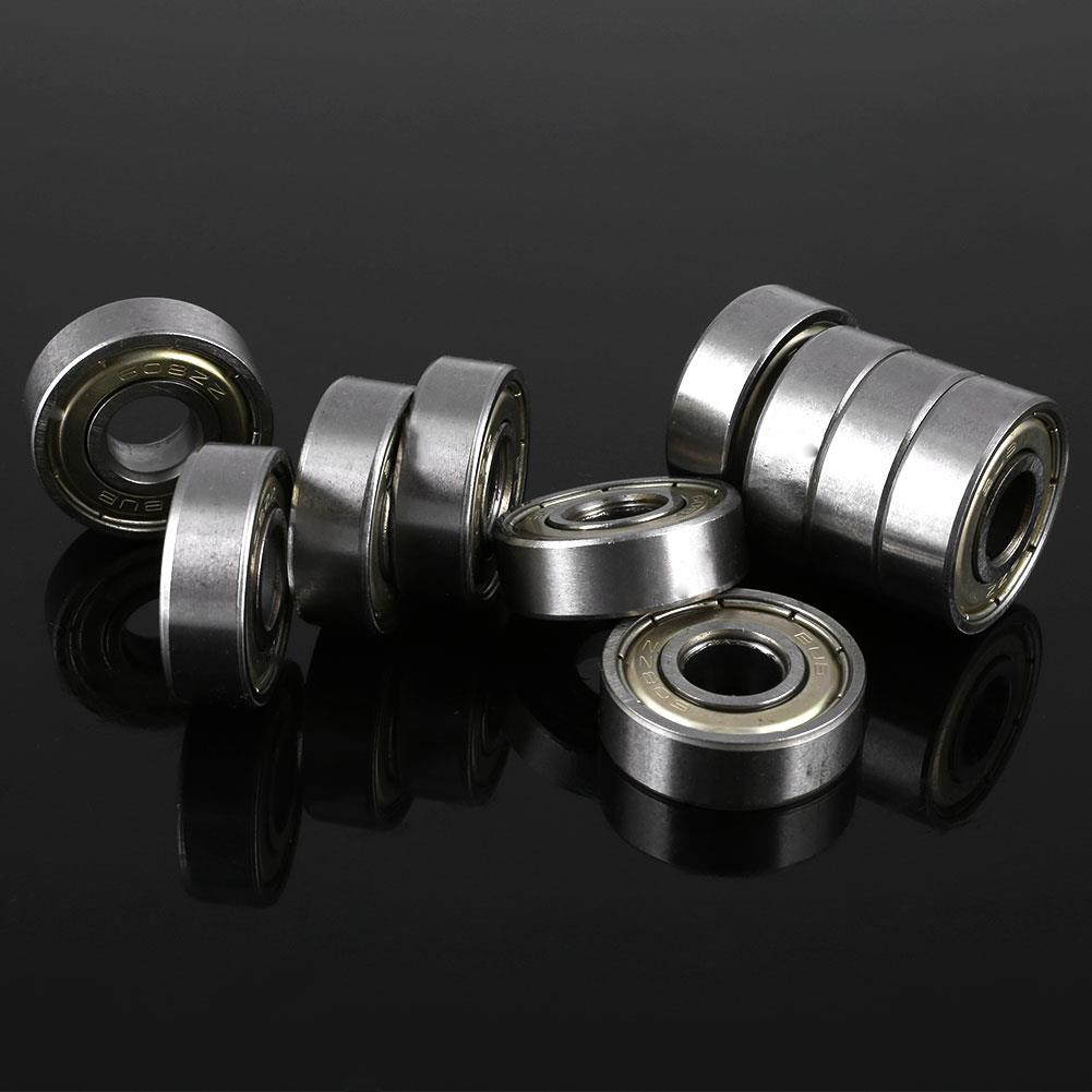 Skateboard 10 Pcs 608zz Bearings Ball 8*22*7mm Silver Bearing Carbon Steel For 8x22x7mm Scooter