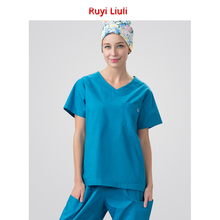 Mens and womens surgical clothes pure cotton operating room brush hand service doctors nurses uniform