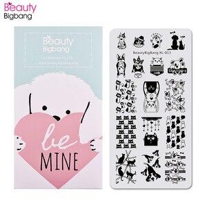 BeautyBigBang пластины для штамповки ногтей, милый рисунок кошки собаки, пластина для шаблона ногтей, прямоугольный штамп, аксессуары для ногтей, ...