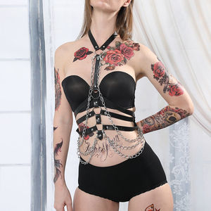 Image 4 - Leather Metal Body Chain Bralete Top Cage Body Harness Punk Gothic Garter Strap Fetish Festival Dance Rave Body Harness Women