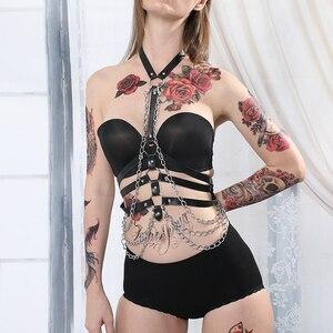Image 4 - Leer Metalen Body Chain Bralete Top Kooi Harnas Punk Gothic Kousenband Riem Fetish Festival Dans Rave Body Harnas Vrouwen