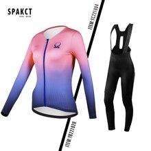 цена на SPAKCT 2020 Cycling Jersey Set For Men Women Long Sleeves Bib Tight Pants Padded Bike Clothing Sport Bicycle Cycling Shirts Wear
