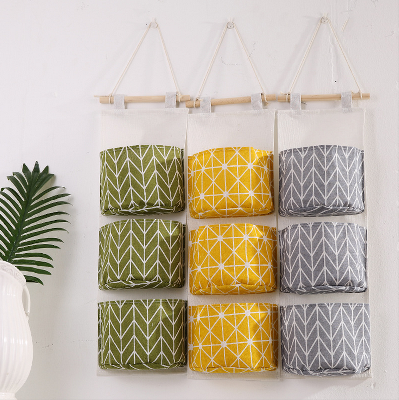 3 Pockets Wall Door Hanging Organizer Storage Bags Cotton Linen Bedroom Home Decor Closet Hang Sundries Cosmetics Toy Organizers