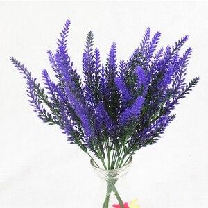 Image 1 - 1 mazzo di lavanda Artificiale rayon fiore del desktop falso disposizione dei fiori decorazione di cerimonia nuziale decorazione del partito puntelli Foto