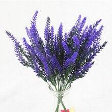 1 ramo de lavanda Artificial Flor de rayón decoración de arreglo de flores falsas de escritorio decoración para fiesta de boda accesorios para fotos