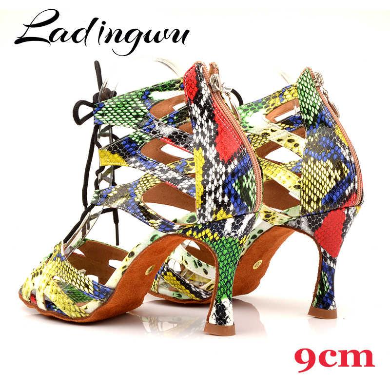 Ladingwu Ladingwu ダンスシューズトレンドスネークテクスチャサルサダンスシューズ女性のラテンシューズダンスブーツワイドと狭い調整