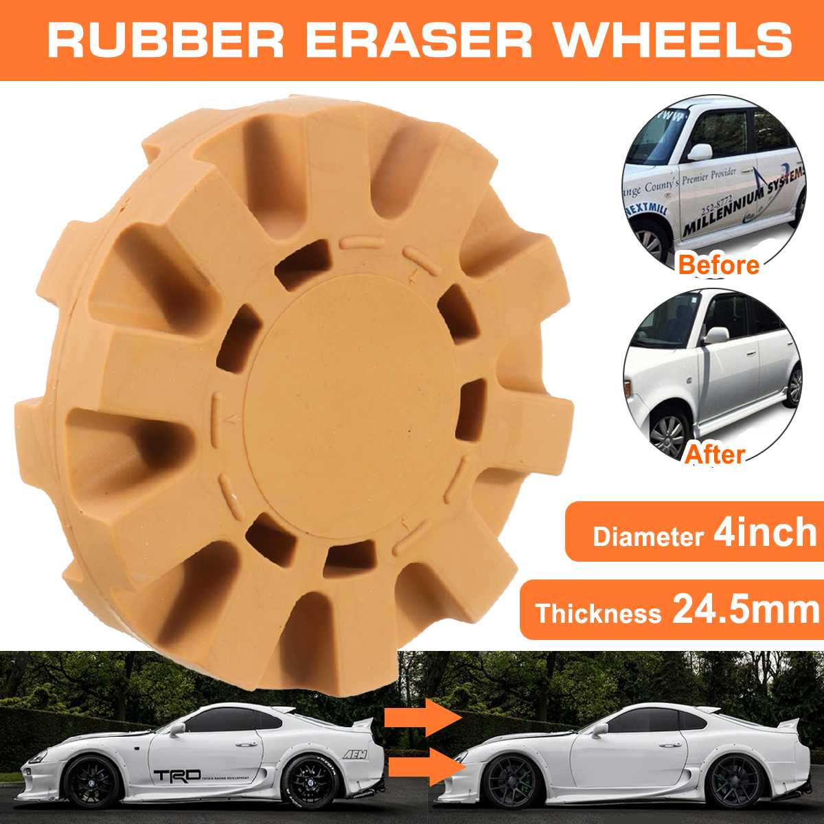4 Inch 100mm Universal Auto Repair Paint Tool Rubber Eraser Wheel For Remove Car Glue Adhesive Sticker Pinstripe Decal Graphic