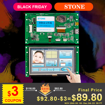 5 inch HMI LCD Display Module with Touch Panel + Controller Board Support PIC/ Any MCU tp04g bl c delta text panel hmi stn lcd single color 4 lines display model new in box