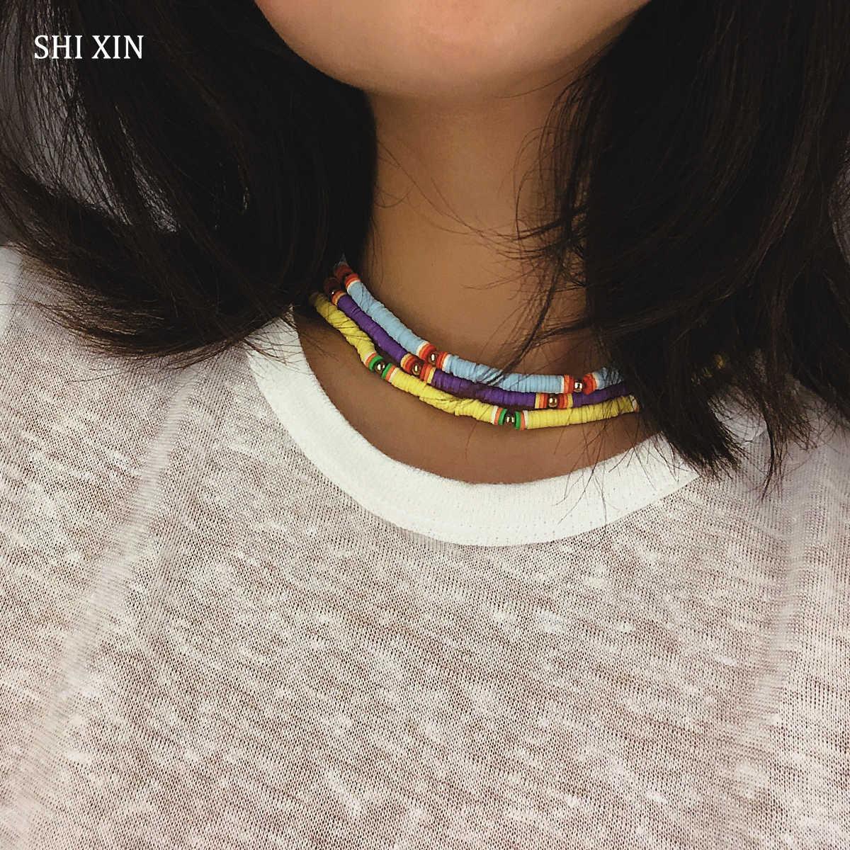 Shixin Boho Nhiều Màu Sắc Choker Vòng Đeo Cổ Cho Nữ Thời Trang Rainbow Vòng Cổ Hàn Quốc 2019 Dân Tộc Cổ Trang Trí Trên Cổ Collier
