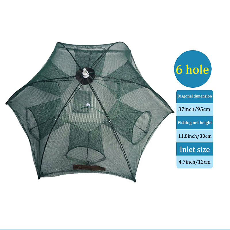 Portable Fishing Net Nylon Automatic Foldable Catch Fish Baits Trap For Fishes Shrimp Minnows Crab Cast Mesh &T8