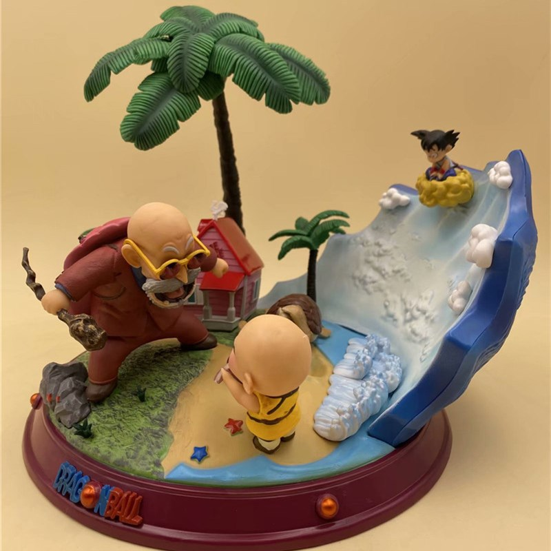 NEW Dragon Ball Son Goku Krillin Master Roshi Turtle Fairy House Bust GK Statue Action Figure Collectible Model Toys Gift 22cm