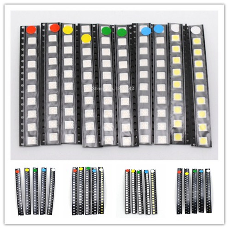 100PCS/LOT SMD LED Kit 1206 1210 5050 5730 0805 0603 3528 Red/Green/Blue/White/Yellow Led Diode Set 5 Colors Each 20PCS
