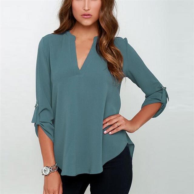 Blusa informal de Chifón con manga larga para Primavera, Camisa lisa y elegante para mujer, con cuello de pico, enrolladas, de talla grande 5XL 3