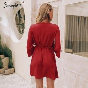 Image 4 - Женское черное платье Simplee, винтажное привлекательное шифоновое короткое красное платье с длинным рукавом и завязкой в виде банта для офисных дам, 2019