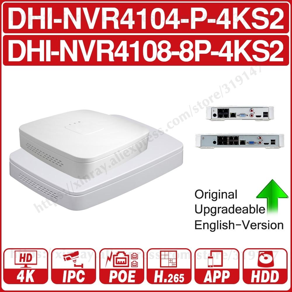 Dahua 4 k poe nvr NVR4104-P-4KS2 NVR4108-8P-4KS2 com 4/8ch poe h.265 suporte ao gravador de vídeo onvif 2.4 sdk cgi