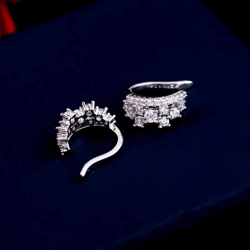 Élégant zircon cubique cristal couronne oreille manchette femmes Clip boucles d'oreilles pas percé Brincos couleur argent