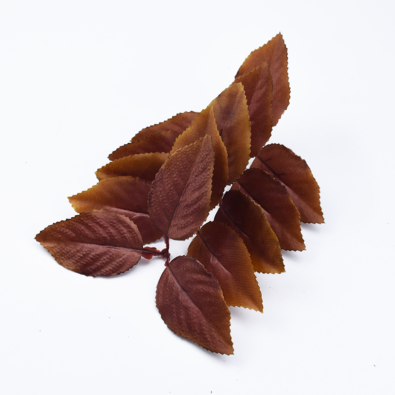 10pcs Brown Leaves Silk Leaf Christmas Decorations For Home Scrapbooking Wedding Bridal Accessories Clearance Artificial Plants