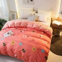 Winter Flannel Printed Bedding Set 4pcs Velvet Duvet Cover Fleece Sheet Pillowcase One sided Velvet Quilt Cover Home Textile