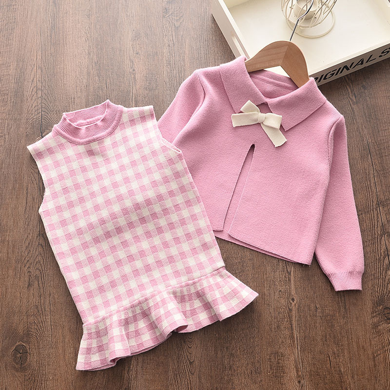 Baby girl clothes autumn and winter knitted sweater two-piece fashion girl plaid print vest sweater skirt baby girl sweater set 4