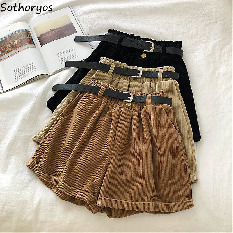 Shorts Women Winter Corduroy Elastic-waist Solid Crimping Sashes Fashion Vintage Wide-leg Autumn Female Loose Casual Ulzzang New