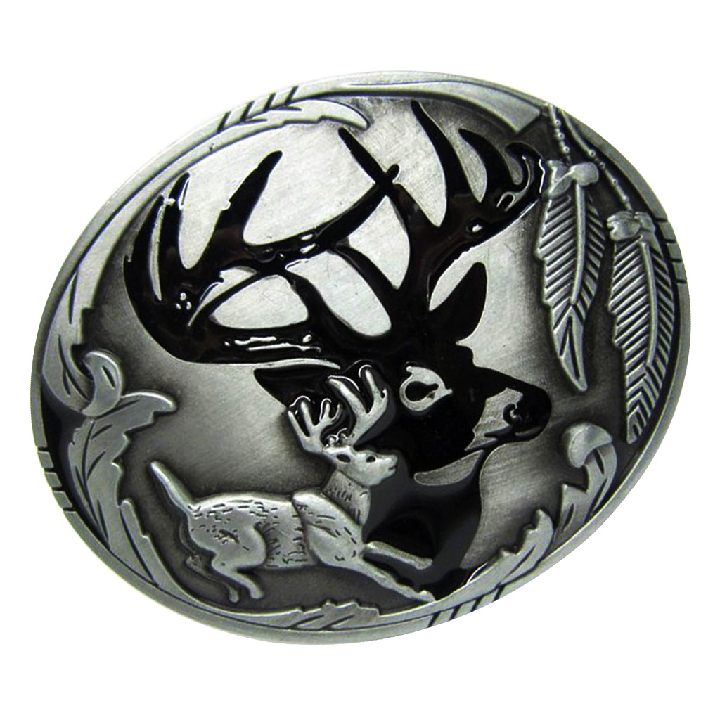 Vintage Western Belt Buckle Deer Hunting Antler Novelty Clothing Jewellery Metal