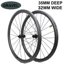 700c Carbon Wiel 32*35Mm Tubeless Klaar Velg Optioneel 6 Soorten Hub En Pijler 1423 Sprak Voor road Disc/Cyclocross/Grind Bike