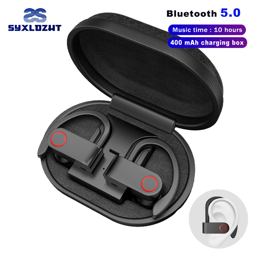 TWS Sports Wireless Bluetooth Earphone Headphones Ear-hook Stereo Earbuds Earphones IPX5 Waterproof With Mic Phone Headset