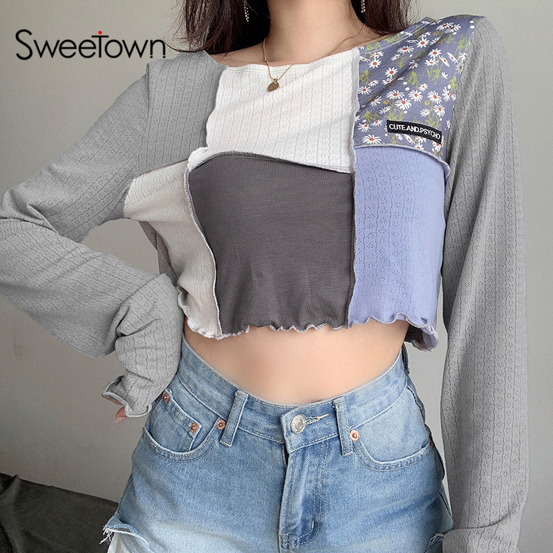 Sweetown Patchwork manga larga camisa Casual para mujeres estilo a la moda Coreana de cuello suelto Top camisa otoño 2020 Streetwear