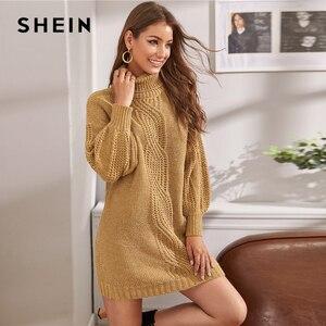 Image 3 - Женское трикотажное платье свитер SHEIN, зимнее прямое платье свитер с рукавами фонариками и высоким воротником без пояса